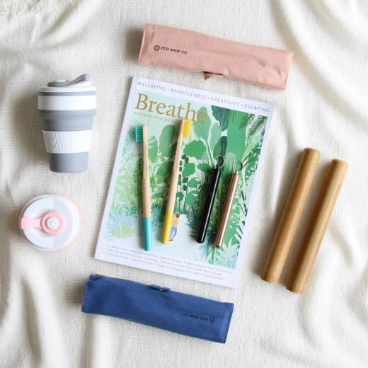 Eco-friendly product flat lay