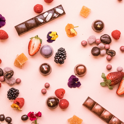 Chocolate flat lay