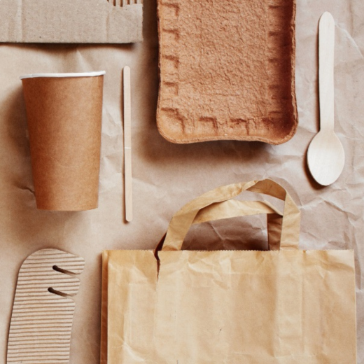 Brown packaging flat lay