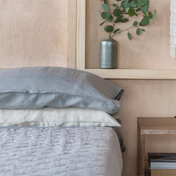 Bed with The Natural Bedding Co Linen