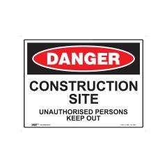 Danger Construction Site 600mm x 450mm - Metal