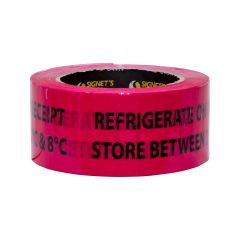 Warning Label - Refrigerate on Receipt 2ºC and 8ºC - 48mm × 150mm (330 labels per roll)