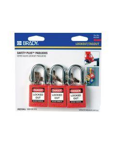 Brady Safety Padlock - Red (3 Pack)