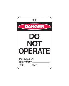 Danger Tag Polypropylene- Do Not Operate