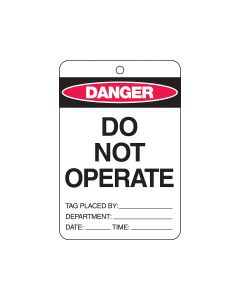 Danger Tag Card Stock - Do Not Operate