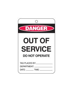 Danger Tag Card Stock - Out of Service