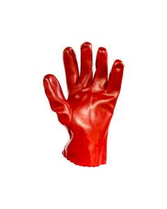Dipped PVC Wrist Length Gloves 27cm - Red (12 pairs per carton)