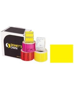 Signet's Own Plain Labels 100mm x 100mm Fluoro Yellow (970 per roll)