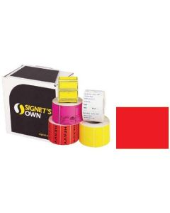 Signet's Own Plain Labels 48mm x 129mm Fluoro Red (1500 per roll)