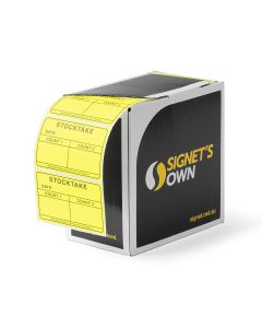 Signet's Own Stocktake Labels 100mm x 65mm - Fluoro Yellow (1400 per roll)