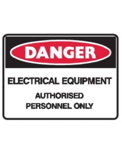 Danger Electrical Equipment 250mm x 180mm - Self Sticking Vinyl