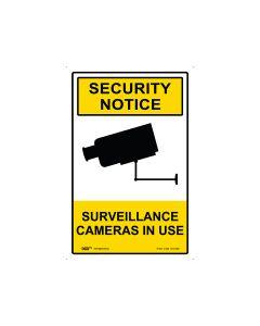 Security Notice Surveillance Cameras In Use 300mm x 450mm - Metal