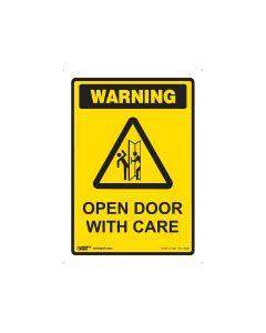 Open Door With Care 250mm x 180mm - Self Sticking Vinyl