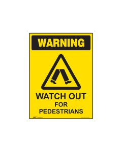 Watch Out For Pedestrians 600mm x 450mm - Metal