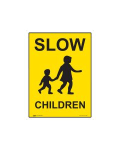 Slow Down Children 450mm x 600mm - Metal