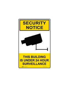 Security Notice 24 Hour Surveillance 300mm x 450mm - Metal