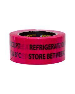Warning Label - Refrigerate on Receipt 2ºC and 8ºC - 48mm × 150mm (330 labels per roll)