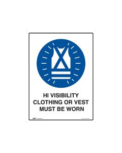 High Visibility Must Be Worn 450mm x 600mm - Metal