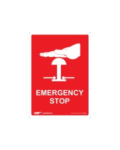 Emergency Stop 90mm x 125mm - Self Sticking Vinyl (5 Pack)