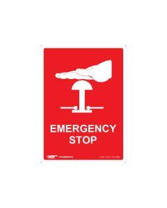 Emergency Stop 90mm x 125mm - Self Sticking Vinyl (5 Pack)