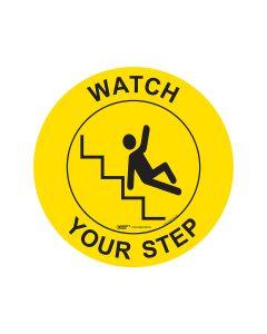 Watch Your Step Floor Sign - 440mm Self Sticking Vinyl