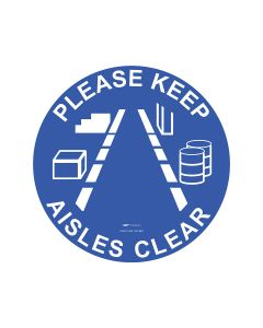 Keep Aisle Clear Floor Sign - 440mm Self Sticking Vinyl