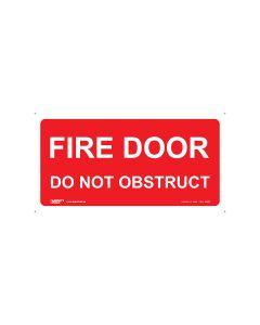 Fire Door Do Not Obstruct 350mm x 180mm - Self Sticking Vinyl