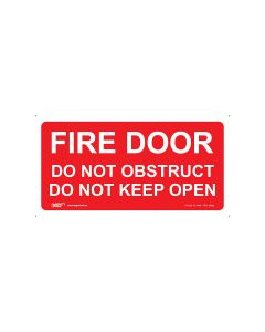Fire Door Do Not Obstruct 350mm x 180mm - Self Sticking Vinyl
