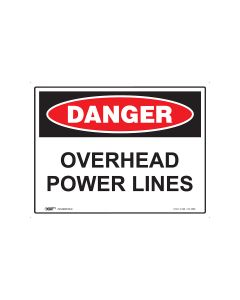 Danger Overhead Powerline 600mm x 450mm - Metal