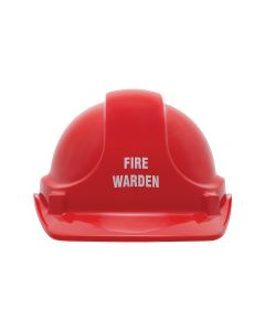 Fire Warden Pre-Printed Site Safety Helmet - Red