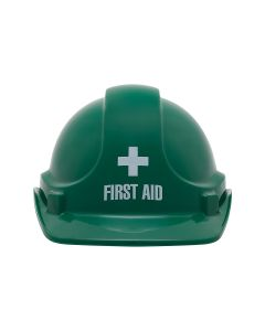 First Aid Pre-Printed Site Safety Helmet - Green