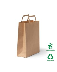 #60 Flat Fold Handle Paper Bags Small 7L Size - Brown (250 per carton)