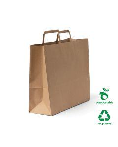 #75 Flat Fold Handle Paper Bag Large 16L Size - Brown (250 bags per carton)