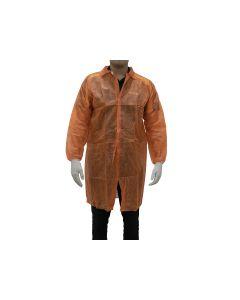 Disposable Polypropylene Lab Coat 30gsm - Orange (100 per Carton)
