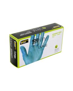 Signet's Own Vinyl Gloves Powder Free - Blue, Large (100 gloves per box)