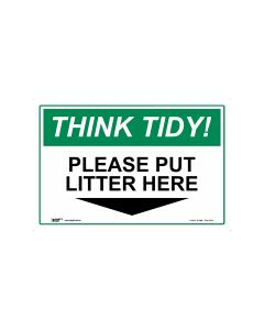 Think Tidy Put Litter Here 450mm x 300mm-Polypropylene