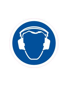 Mandatory Decal Ear Protection-150mm x 150mm (10 per pack)