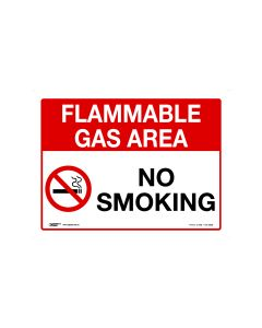 Flammable Gas Area No Smoking 600mm x 450mm-Metal