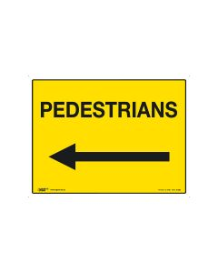 Pedestrians (arrow left) 600mm x 450mm-Coreflute