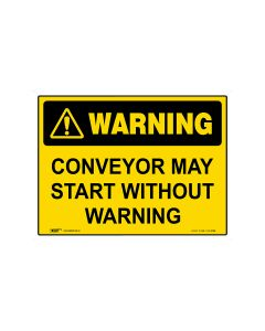 Conveyor May Start Without Warning 600mm × 450mm - Metal