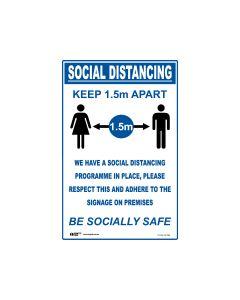 Social Distancing Sign 300mm x 450mm - Polypropylene