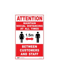 Maintain Social Distancing At All Times Sign Red/White 300mm x 450mm - Polypropylene