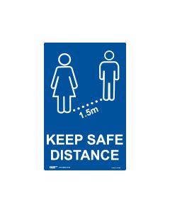 Keep Safe Distance Sign Blue/White 300mm x 450mm - Polypropylene