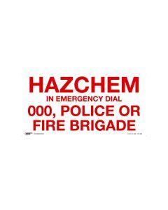 Hazchem Emergency 600mm x 300mm - Polypropylene