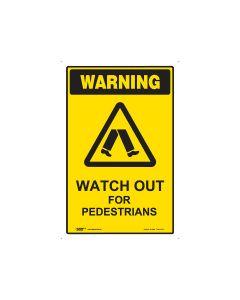Watch Out For Pedestrians 450mm x 300mm - Polypropylene