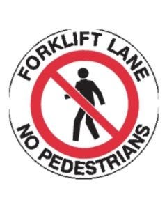 Forklift Lane Sign 440mm Circle - Self Sticking Vinyl