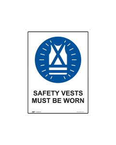 Safety Vest Must Be Worn 450mm x 600mm - Metal