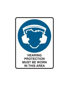Hearing Protection Must Be Worn 300mm x 450mm - Polypropylene