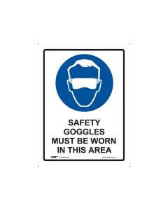 Safety Goggles Must Be Worn 225mm x 300mm - Polypropylene