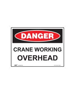 Danger Crane Working Overhead 600mm x 450mm - Metal